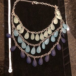 Layered blue beaded statement necklace